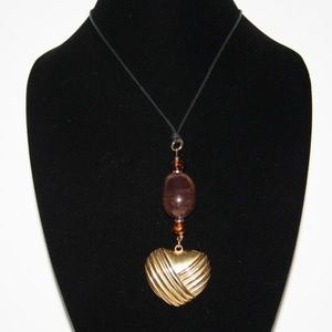 """Large gold heart necklace 30"""" cord"""